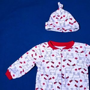 6-9M Moose Canadian Onesie | Red & Grey with Hat